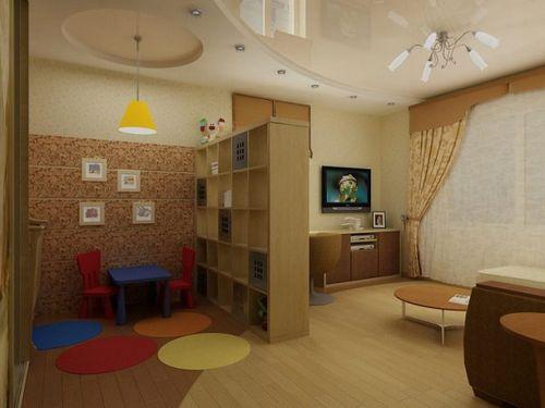дизайн однокомнатной квартиры с детской кроваткой