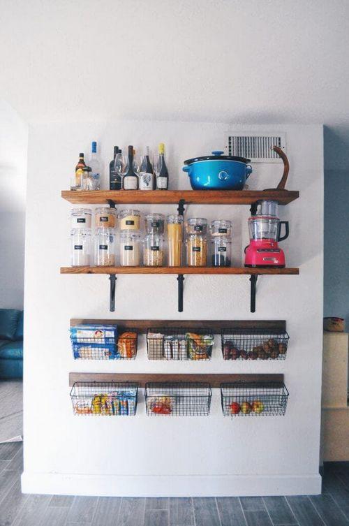 Полки настенные навесные открытые оригинальные на кухню