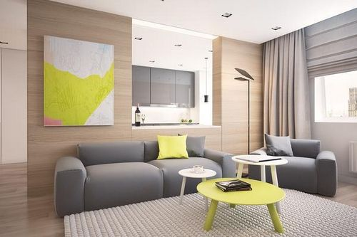 сочетание серого цвета в интерьере гостиной фото