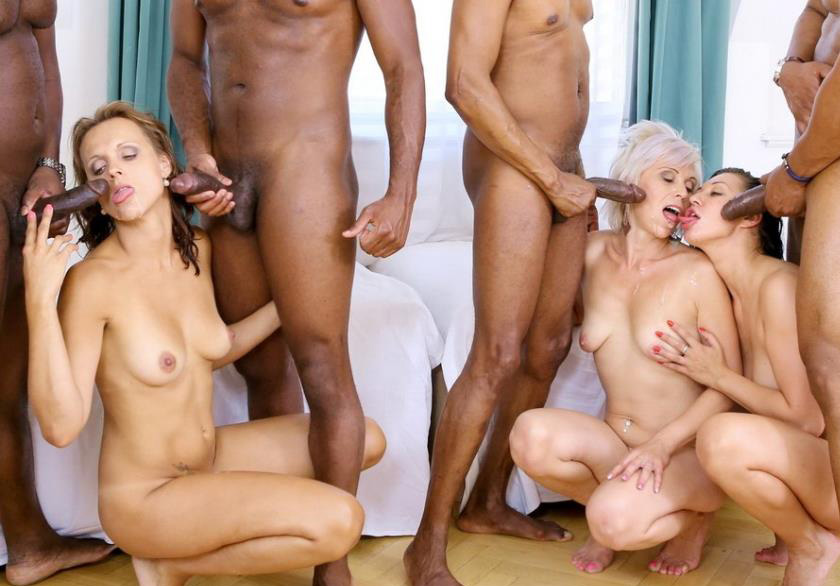Kathy White, Eva Ann And Sofie In Kinky Milf Interracial Orgy 4 On 3 DP IV013 - Kathy White, Eva Ann, Sofie [2016 / SD]
