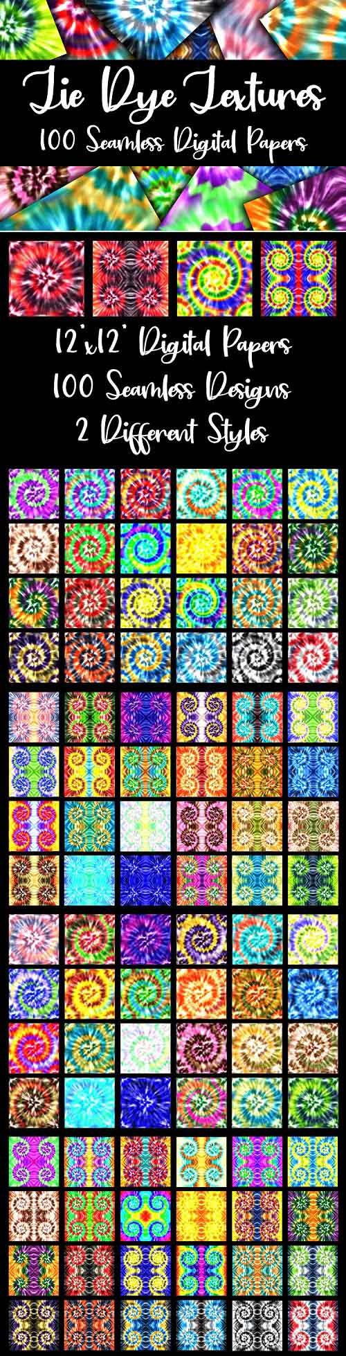 100 Seamless Tie Dye Digital Paper Textures - 555017