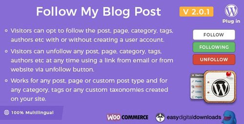 CodeCanyon - Follow My Blog Post v2.0.1 - WordPress / WooCommerce Plugin - 6107586