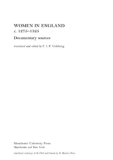 Women in England c 1275  - Manchester University Press 1996 (1525)